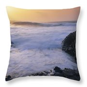 Rocks On The Beach, Giants Causeway Throw Pillow