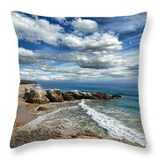 Rocky Coast In Malibu California Throw Pillow