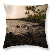 Rocky Coastline, Poipu, Kauai, Hawaii Throw Pillow