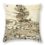 Rocky Ground At Montmajour Throw Pillow