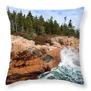 Rocky Maine Coastline. Throw Pillow