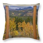 Rocky Mountain Autumn Picture Window Scenic View Throw Pillow