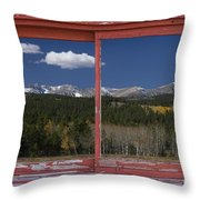 Rocky Mountain Autumn Red Rustic Picture Window Frame Photos Art Throw Pillow