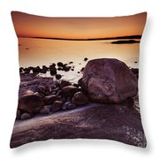 Rocky Shore At Twilight Throw Pillow