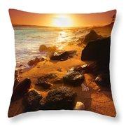 Rocky Shoreline In Hawaii Throw Pillow