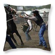 Rodeo Wild Horse Race Throw Pillow