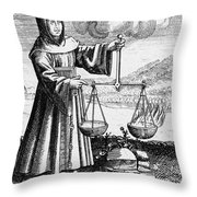 Roger Bacon Conducting An Experiment Throw Pillow