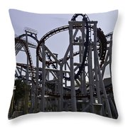 Roller Coaster Rides Inside The Universal Studio Park In Sentosa Throw Pillow