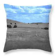 Rolling Farmland In Blue Light Throw Pillow