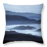 Rolling Hills In The Fog, Rwanda, Africa Throw Pillow
