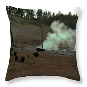Rolling Stampede Throw Pillow