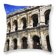 Roman Arena In Nimes France Throw Pillow