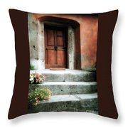Roman Door And Steps Rome Italy Throw Pillow