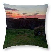 Roman Wall Sunrise Throw Pillow