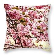 Romantic Cherry Blossoms Throw Pillow