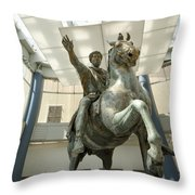 Rome Italy. Capitoline Museums Emperor Marco Aurelio Throw Pillow by Bernard Jaubert