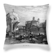 Rome: Ponte Rotto, 1833 Throw Pillow by Granger