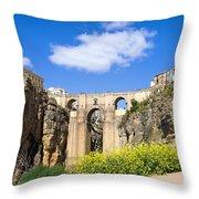 Ronda Bridge In Spain Throw Pillow