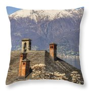 Roof With Chimney And Snow-capped Mountain Throw Pillow
