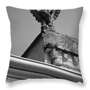 Rooftop Chained Gargoyle Statue Above French Quarter New Orleans Black And White Throw Pillow