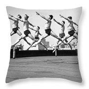 Rooftop Dancers In New York Throw Pillow