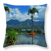 Rooftop Fountain In Paradise Throw Pillow