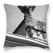Rooftop Gargoyle Statue Above French Quarter New Orleans Black And White Diffuse Glow Digital Art Throw Pillow by Shawn O'Brien