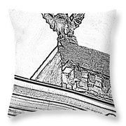 Rooftop Gargoyle Statue Above French Quarter New Orleans Black And White Photocopy Digital Art Throw Pillow