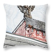 Rooftop Gargoyle Statue Above French Quarter New Orleans Colored Pencil Digital Art Throw Pillow