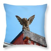 Rooftop Gargoyle Statue Above French Quarter New Orleans Film Grain Digital Art Throw Pillow