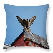 Rooftop Gargoyle Statue Above French Quarter New Orleans Throw Pillow