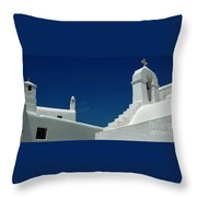 Rooftops Of Mykonos Throw Pillow