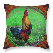 Rooster Colors Throw Pillow