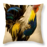Rooster On The Prowl 2 - Vintage Tonal Throw Pillow