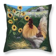 Rooster One Eyed Jack Throw Pillow