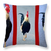 Rooster Triptych Throw Pillow