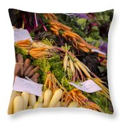 Root Vegetables At The Market Throw Pillow