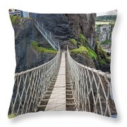 Rope Bridge At Carrick-a-rede In Northern Island Throw Pillow