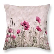 Pink Poppy Field  Throw Pillow