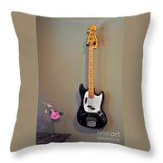 Rose And Bass Guitar Throw Pillow
