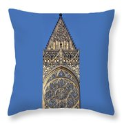 Rose Window - Exterior Of St Vitus Cathedral Prague Castle Throw Pillow by Christine Till