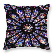 Rose Window In The Notre Dame Cathedral Throw Pillow by Axiom Photographic