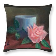 Rose With Blue Cup Throw Pillow