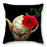 Rose With China Teapot Throw Pillow