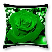 Rose With Green Coloring Added Throw Pillow
