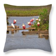 Roseate Spoonbills And Snowy Egrets Throw Pillow