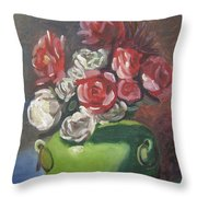 Roses And Green Vase Throw Pillow by Lilibeth Andre