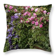 Roses On The Fence Throw Pillow