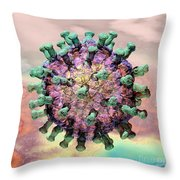 Rotavirus 2 Throw Pillow by Russell Kightley