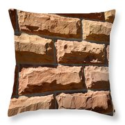 Rough Hewn Sandstone Brick Wall Of A Historic Building Throw Pillow